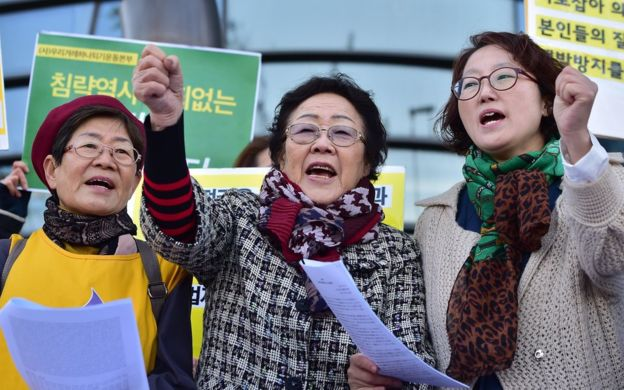 "Former ""comfort woman"" Lee Yong-soo (centre) protesting outside the Japanese embassy in Seoul. (AFP)"