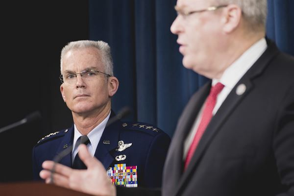 Air Force Gen. Paul J. Selva, vice chairman of the Joint Chiefs of Staff, joins Deputy Defense Secretary Bob Work (DoD photo)