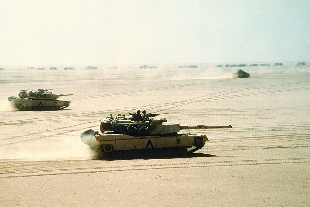 M1 Abrams tanks moving in formation during the Gulf War.
