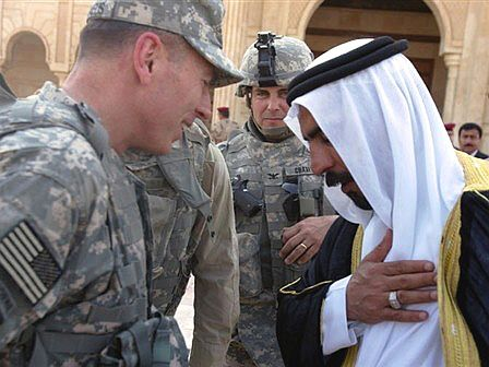 General David Petraeus with Sheikh Abd al-Sattar Abu Rishah, a spearhead for the Sunni Awakening in Anbar Province (Radio Free Europe)