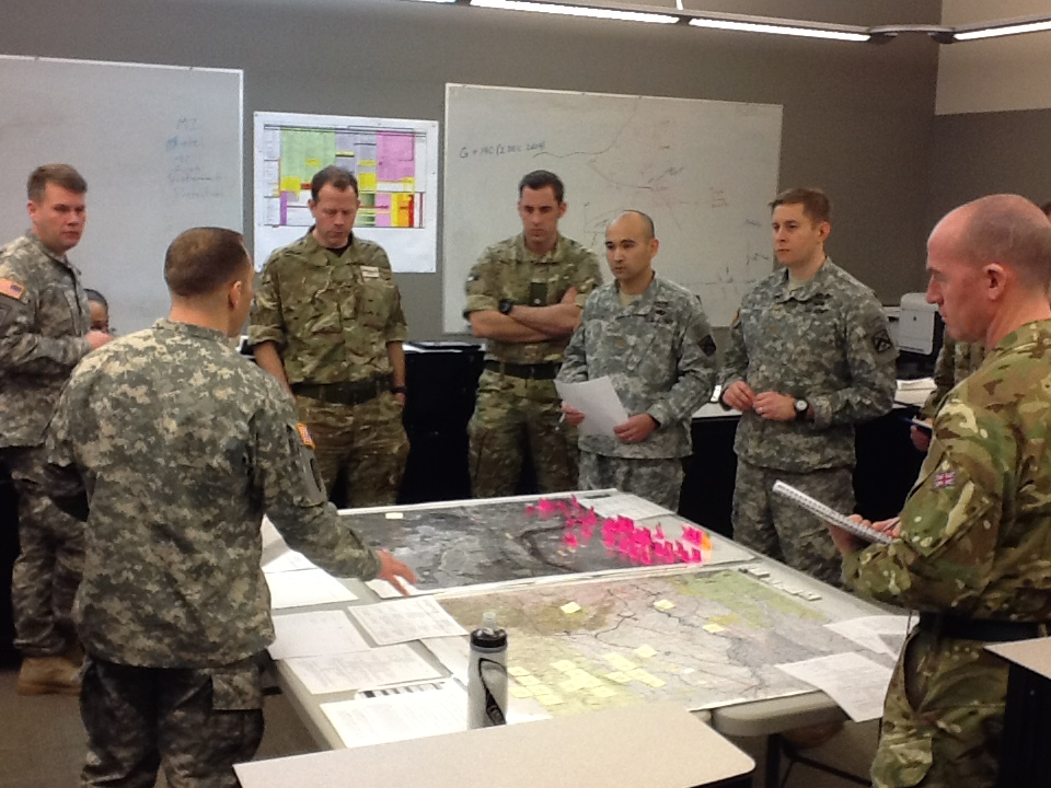 American and British Officers work together during Exercise Eagle Owl at Fort Leavenworth. (U.S. Army Photo)