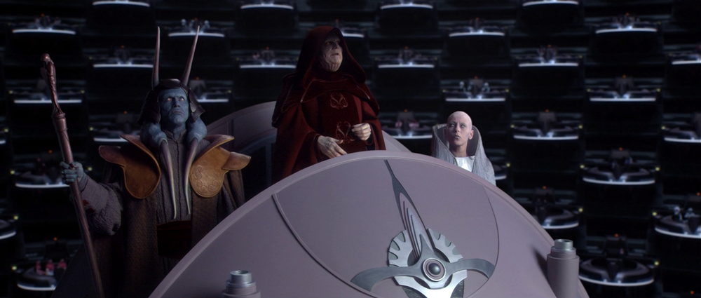 The first Galactic Emperor addresses the Senate from his podium during the Declaration of a New Order. (Star Wars Wiki)