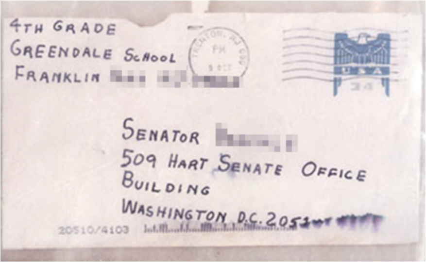 Envelope connected with the 2001 anthrax attacks, and intended for Senator Tom Daschle, contained anthrax spores. (Wikimedia Commons)