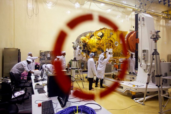 Engineers working on the Mars orbiter at the Indian Space Research Organization in Bangalore. (AP Photo, Aijaz Rahi)