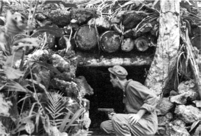Examining a Japanese pillbox on Munda (Source: U.S. Army Signal Corps Photos