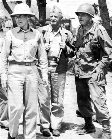 Admiral Raymond Spruance, Admiral Chester Nimitz, and Lieutenant General Simon Buckner