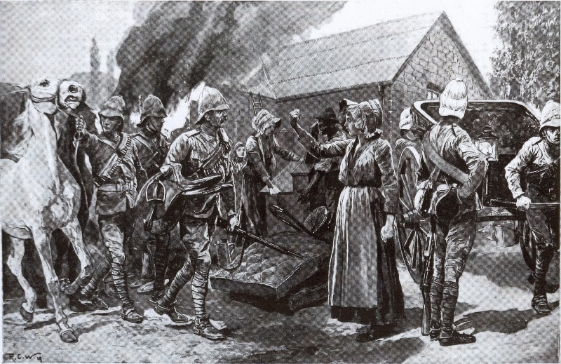 British troops burn Boer officers house. (Painting by Richard Caton)