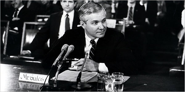 Robert M. Gates at a hearing on his C.I.A. nomination in 1987. He withdrew then, but was confirmed in 1991. (Paul Hosefros | The New York Times)