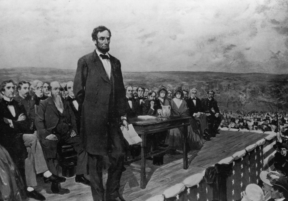 Artist's rendering of Abraham Lincoln delivering the Gettysburg Address and stating an ethical foundation for the American Civil War. (Fletcher C. Ransom)
