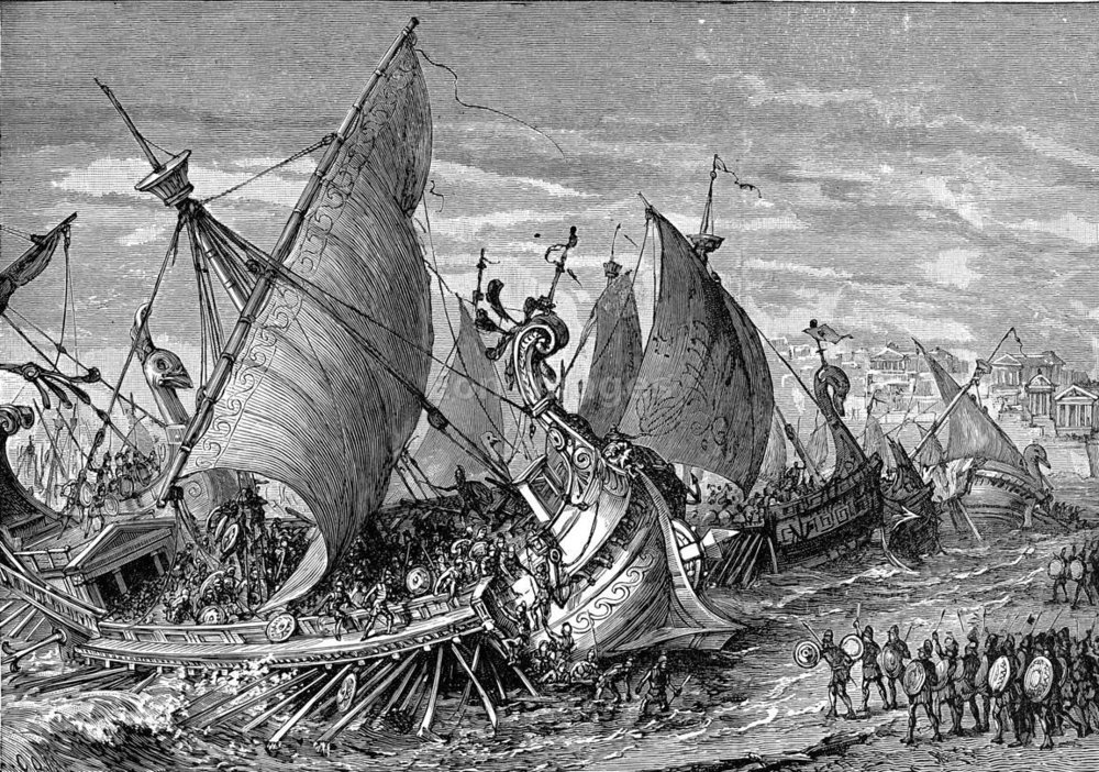 Naval Battle in the Harbor of Syracuse. The naval battle in the harbor of Syracuse where Sparta defeated the Athenians during Second Peloponnesian War. (Public Domain)