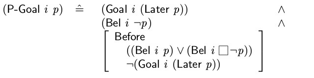 Figure 1. Expressing a persistent goal in intention logic[19]