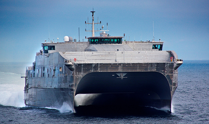 USNS Spearhead (EPF-1) during sea trials in 2012. (U.S. Navy Photo)