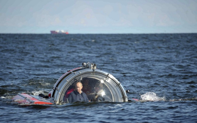 "Putin underwater exploring the 19th Century Frigate ""Oleg"" in the Gulf of Finland"