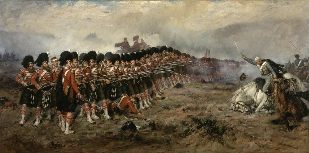 """""""The Thin Red Line"""" by Robert Gibb, an account of Colin Campbell's 93rd Highlanders repel of Ivan Ryzhov's detachment of the 12th Ingermanland Hussars. Campbell, with only Balaklava and the Black Sea to his back, instructed his soldiers with the following: """"Men, remember there is no retreat from here. You must die where you stand."""" (Wikimedia Commons)"""