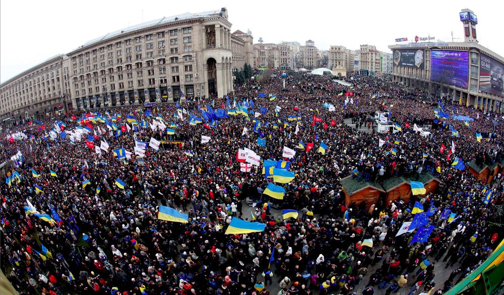 Mass demonstration against Vladimir Putin and Viktor Yanukovych during EuroMaidan 2013.