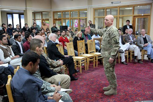 On November 19th, Brig. Gen. H.R. McMaster, commander, Combined Joint Interagency Task Force Shafafiyat (Transparency), gave the inaugural speech for American University of Afghanistan's Leadership Lecture Series. Task Force Shafafiyat was created to combat corruption in Afghanistan.