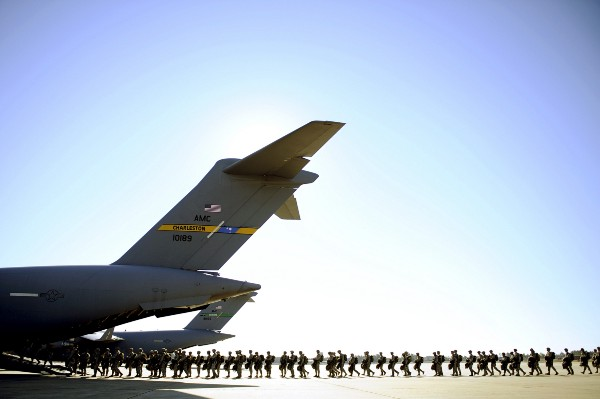 Paratroopers assigned to the 82nd Airborne Division prepare to board a C-17 Globemaster III Feb. 9, 2011, during a joint operational access exercise at Pope Air Force Base, N.C. (U.S. Air Force photo by Staff Sgt. Greg C. Biondo)