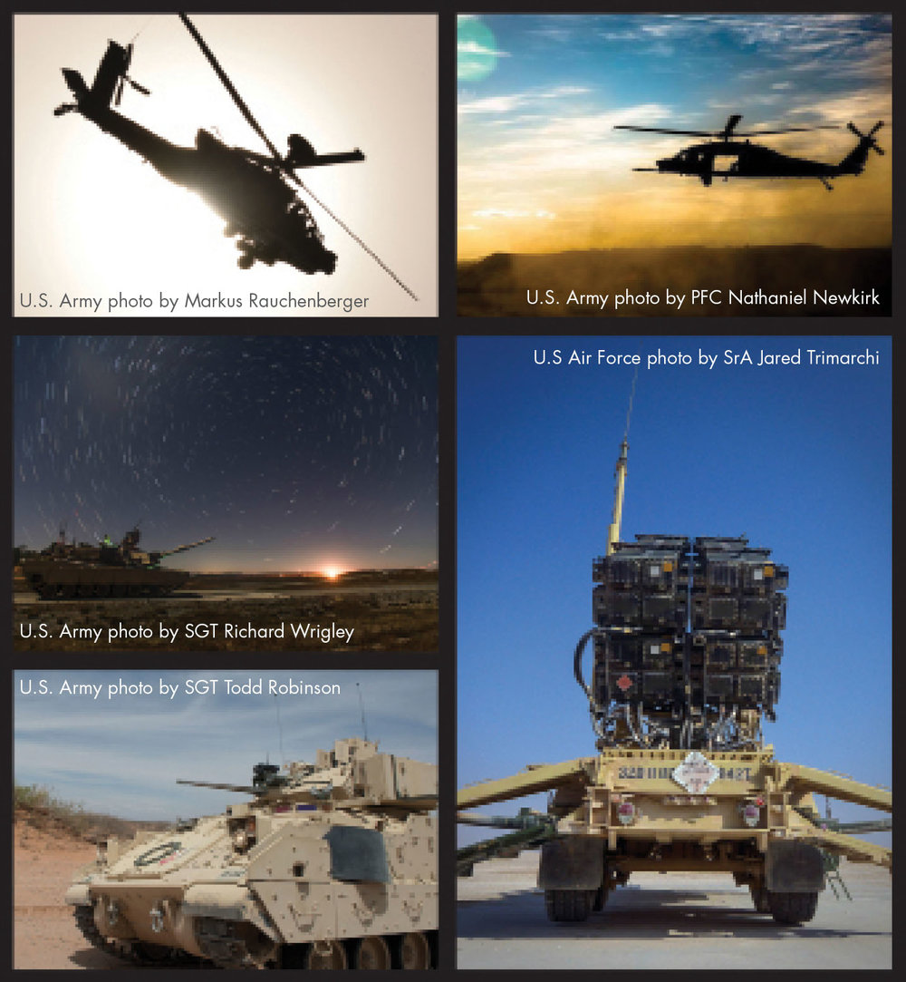 "The ""Big Five""—Black Hawk, Apache, Patriot missile system, Bradley and Abrams. (U.S. Army Photo)"