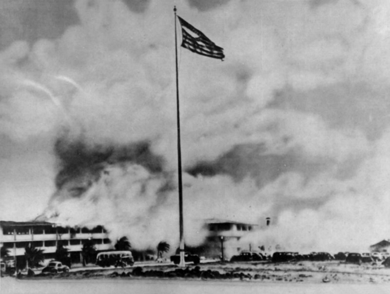 The shredded U.S. flag on the flagpole after the Japanese attack on Hickam Army Airfield, on December 7, 1941.