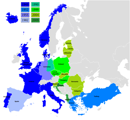 NATO Expansion Over Time: NATO has incorporated many Warsaw Pact nations since 1991 and incorporated Russia into NATO to alleviate Russian fears. ( NATO )