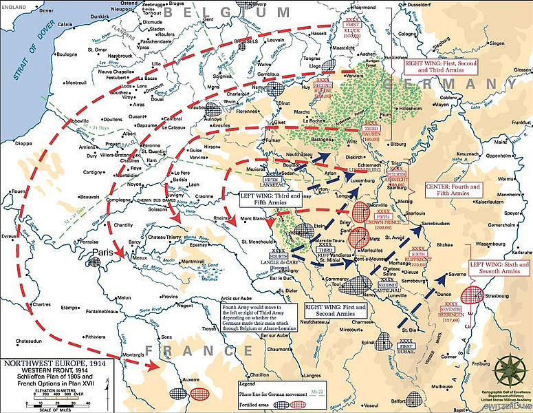 A map describing one version of the so-called Schlieffen Plan. Strategy, tactics, neither, or both? (U.S. Military Academy/Wikimedia)