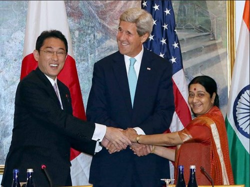 Japanese Minister of Foreign Affairs Fumio Kishida, U.S. Secretary of State John Kerry, and Indian External Affairs Minister Sushma Swaraj, September 2015.