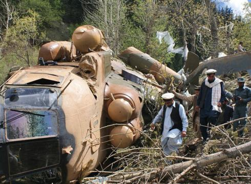 Downed Afghan National Army Mi-8 in Nuristan Province, Afghanistan (AP)