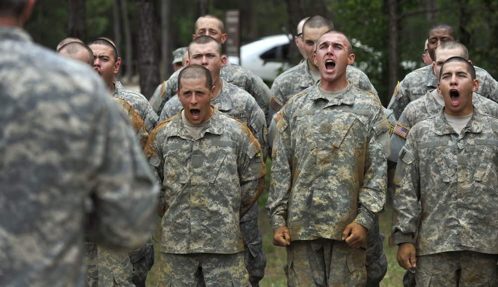 Army recruits in basic training on Fort Benning, Georgia. (Glenn Fawcett/U.S. Army Photo)