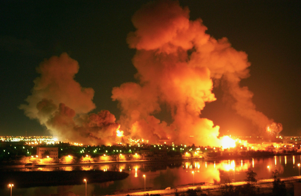 The bombing of Baghdad during the Second Gulf War in 2003. (AP)