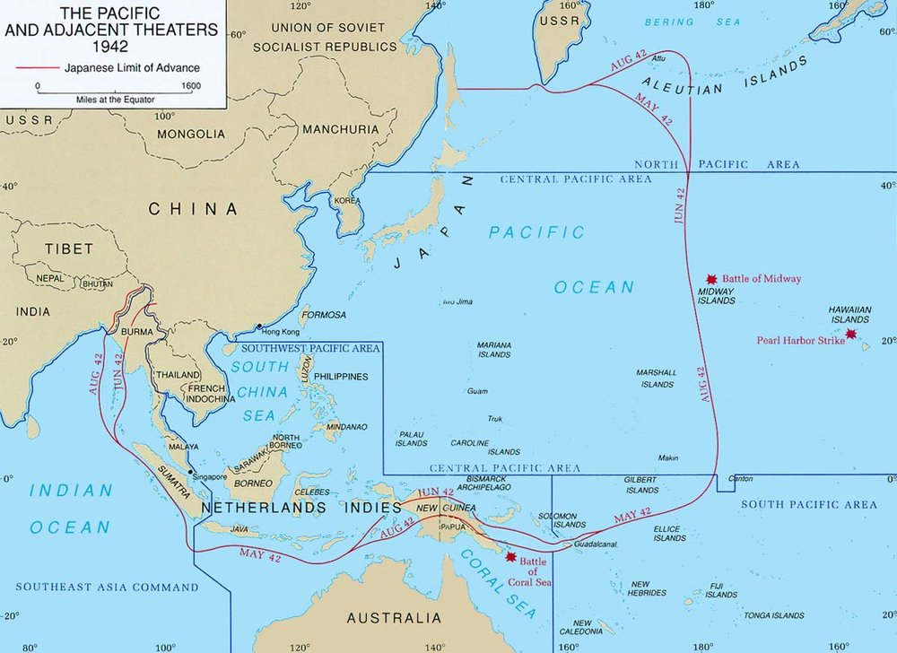 Map of Pacific theater of operations during World War II showing the boundaries of the Japanese Empire. (Clayton R. Newell/U.S. Army Center of Military History)