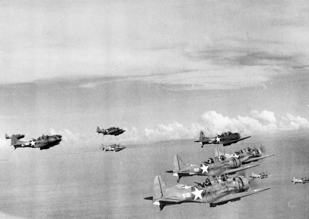 U.S. Navy Douglas SBD-3 Dauntless dive bombers. After the Battle of the Eastern Solomons, in which the USS Enterprise was damaged and forced to return to Pearl Harbor, these aircraft operated from Henderson Field, Guadalcanal. (U.S. Navy National Museum of Naval Aviation/Wikimedia)