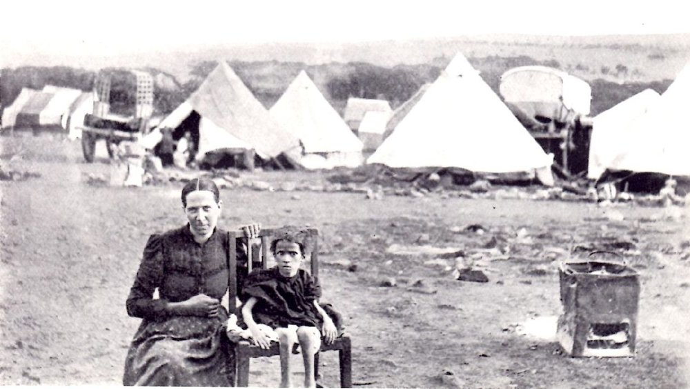 "Boer woman and child in South African war camp  (""The Brunt of the War,"" Emily Hobhouse, Metheun & Co, 1902)"