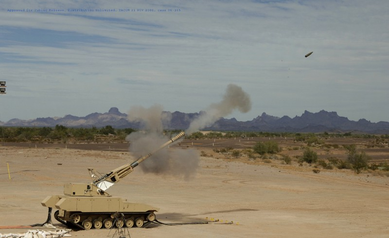 The Non-Line-of-Sight Cannon, a part of the FCS family, was fully automated and could fire at a sustained rate of six rounds per minute | Photo courtesy of BAE Systems.