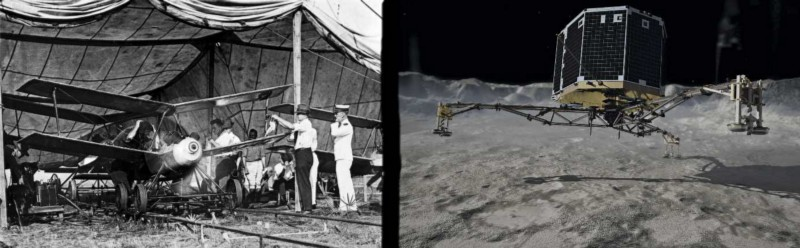 Left: Kettering Bug circa 1918. Right: Philae Lander, 2014. Photos Courtesy Wikimedia.