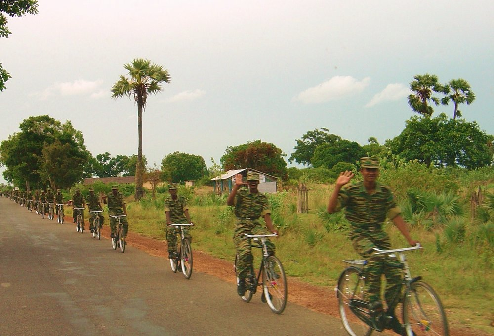 LTTE bike platoon north of Kilinochi, Sri Lanka, in 2004. (Wikimedia)