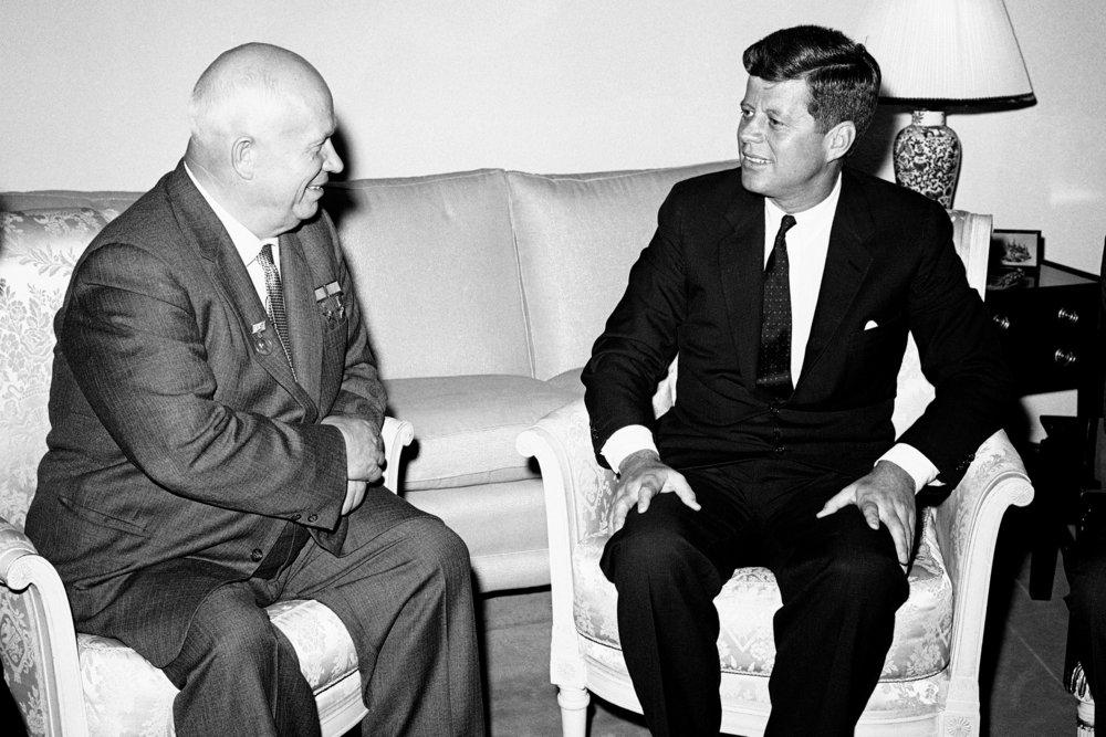 Soviet Premier Nikita Khrushchev and U.S. President John F. Kennedy. (JFK Library)