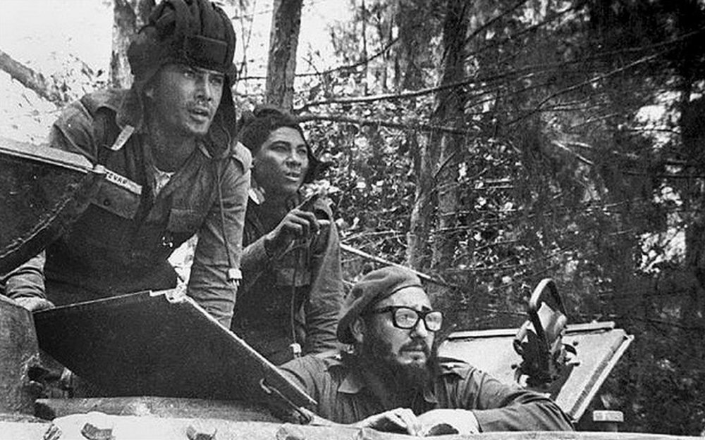 Cuban leader Fidel Castro sits inside a tank near Playa Giron, Cuba, during the Bay of Pigs invasion. (AP)