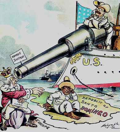 Political cartoon (circa 1906) depicting Theodore Roosevelt using the Monroe Doctrine to keep European powers out of the Dominican Republic. (MonroeDoctrine.net)