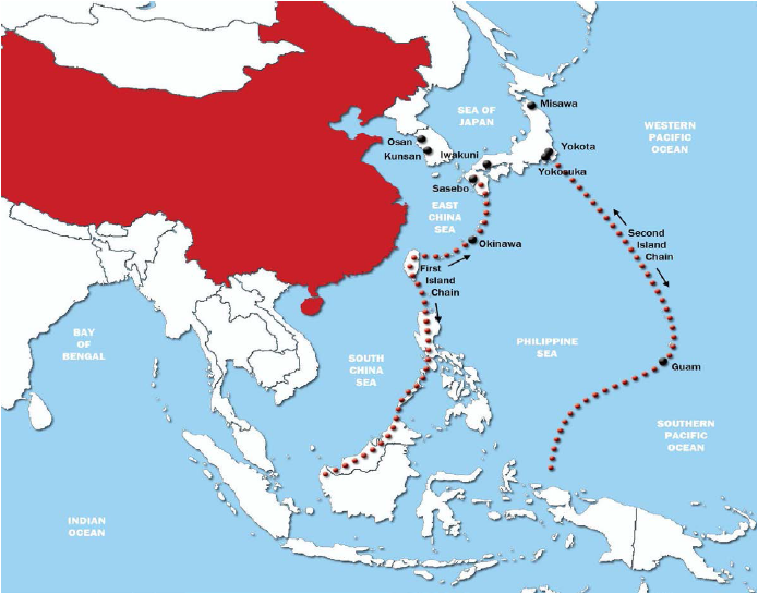The First and Second Island Chains (Island Chains and Sea Control: China's Maritime Strategy/B.D. Cole)