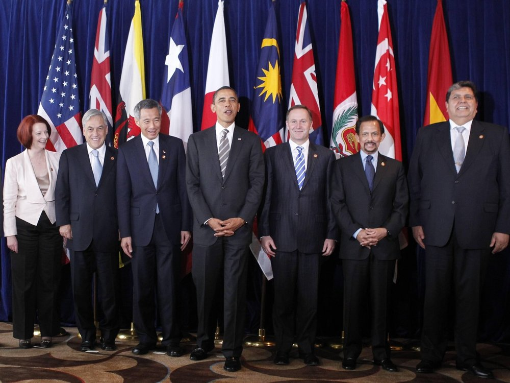 Former U.S. President Barack Obama in 2010, with (left to right) Prime Minister Naoto Kan of Japan, Vietnamese President Nguyen Minh Triet, Prime Minister Julia Gillard of Australia, Chilean President Sebastian Pinera, Prime Minister Lee Hsien Loong of Singapore, Prime Minister John Key of New Zealand, Sultan Hassanal Bolkiah of Brunei, President Alan Garcia of Peru, and Malaysian Deputy Prime Minister Muhyiddin Yassin. (AP/Charles Dharapak)