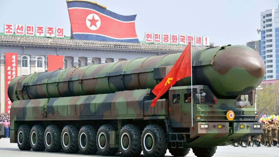 A vehicle equipped with a launch tube possibly for new intercontinental ballistic missiles is seen during a military parade at Kim Il-sung Square in Pyongyang. (Kyodo/South China Morning Post)