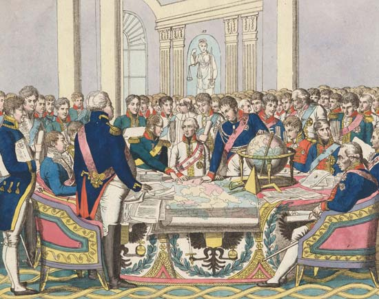 """The Congress of Vienna,"" watercolour etching by August Friedrich Andreas Campe, in the collection of the State Borodino War and History Museum, Moscow. (Britannica.com)"