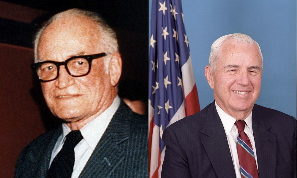Sen. Barry Goldwater (R—AZ) and Rep. William Flynt Nichols (D—AL-4), the co-sponsors of the Goldwater–Nichols Act of 1986. (Wikimedia)
