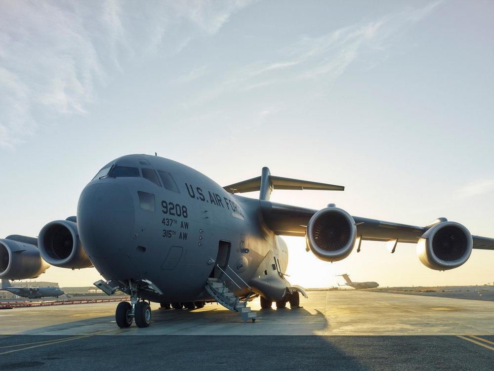 A C-17 prepares for departure. (Jason Koxvold)