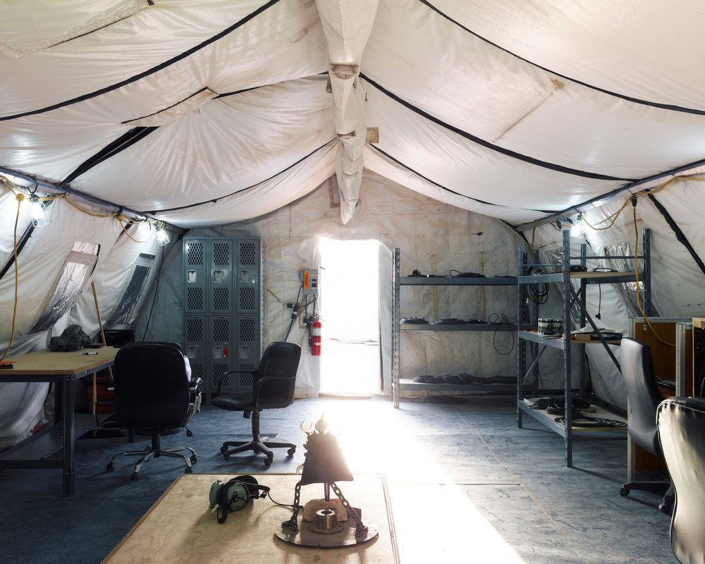 Inside a maintainers' tent in Southwest Asia. (Jason Koxvold)
