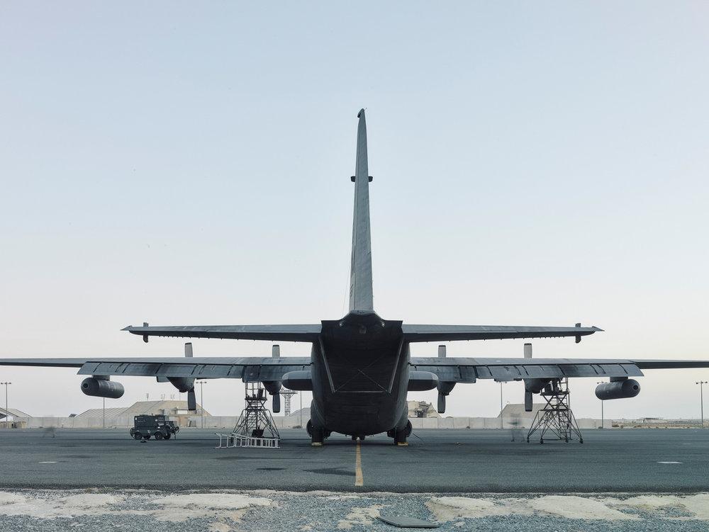 A Davis-Monthan EC-130 Compass Call being prepared for flight. (Jason Koxvold)