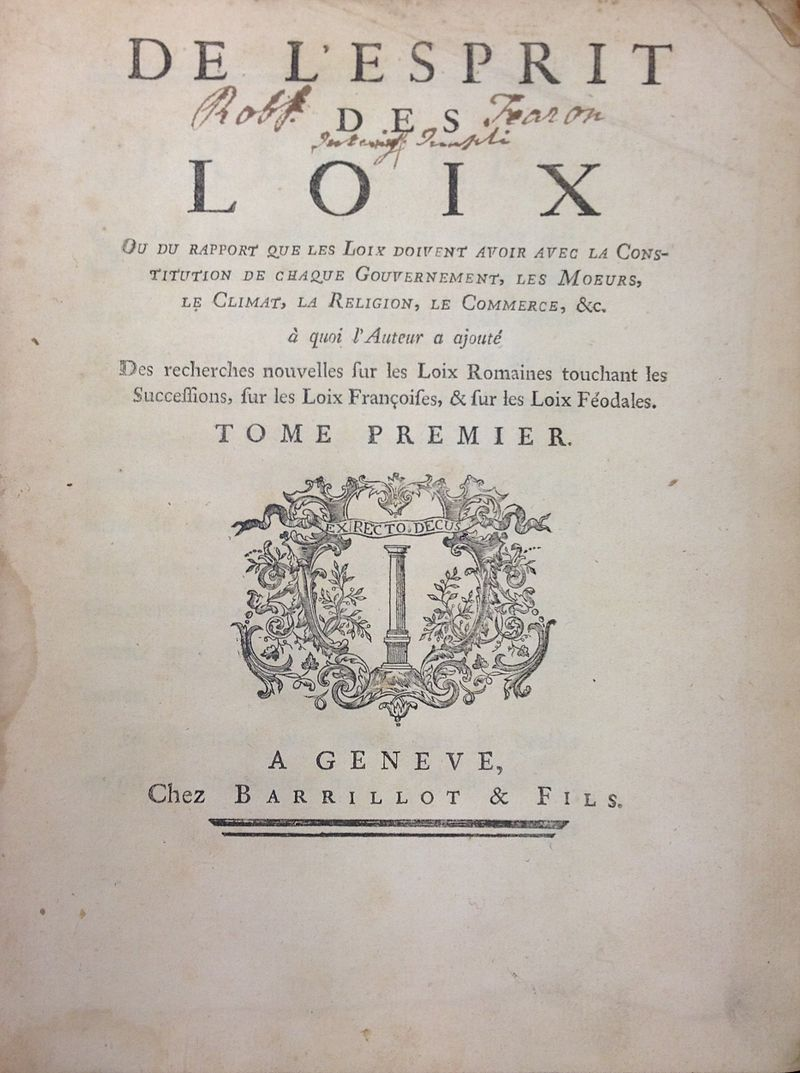 The title page of the first volume of Montesquieu's De l'Esprit des loix (Wikimedia)