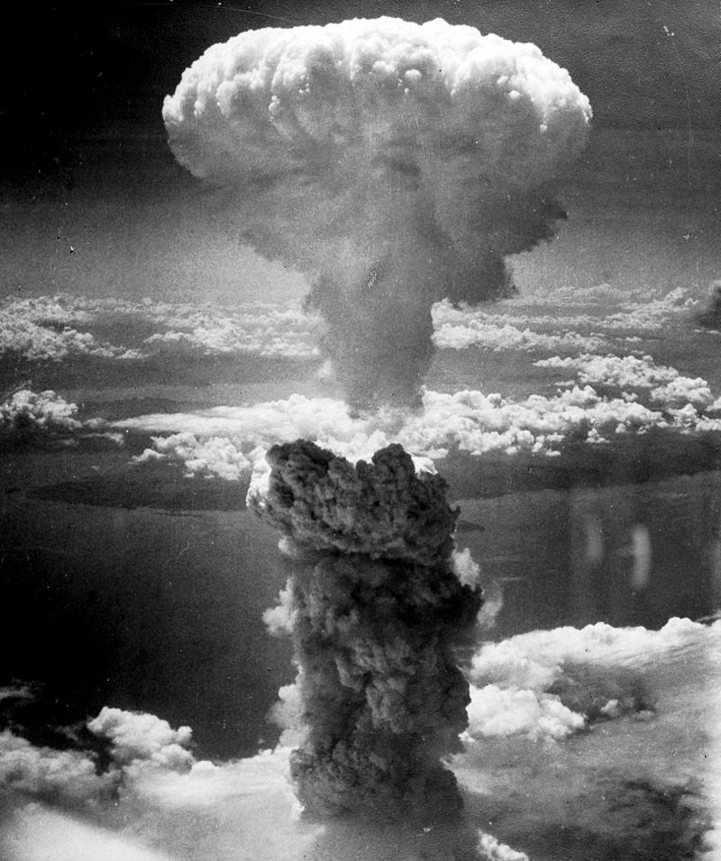 Mushroom cloud above Nagasaki after atomic bombing on August 9, 1945. (Charles Levy/National Archives)