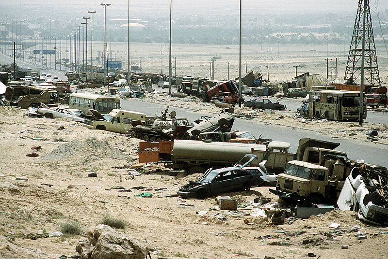 "The ""Highway of Death"", the route fleeing Iraqi forces took as they retreated from Kuwait during Operation Desert Storm. (Joe Coleman/USAF Photo)"