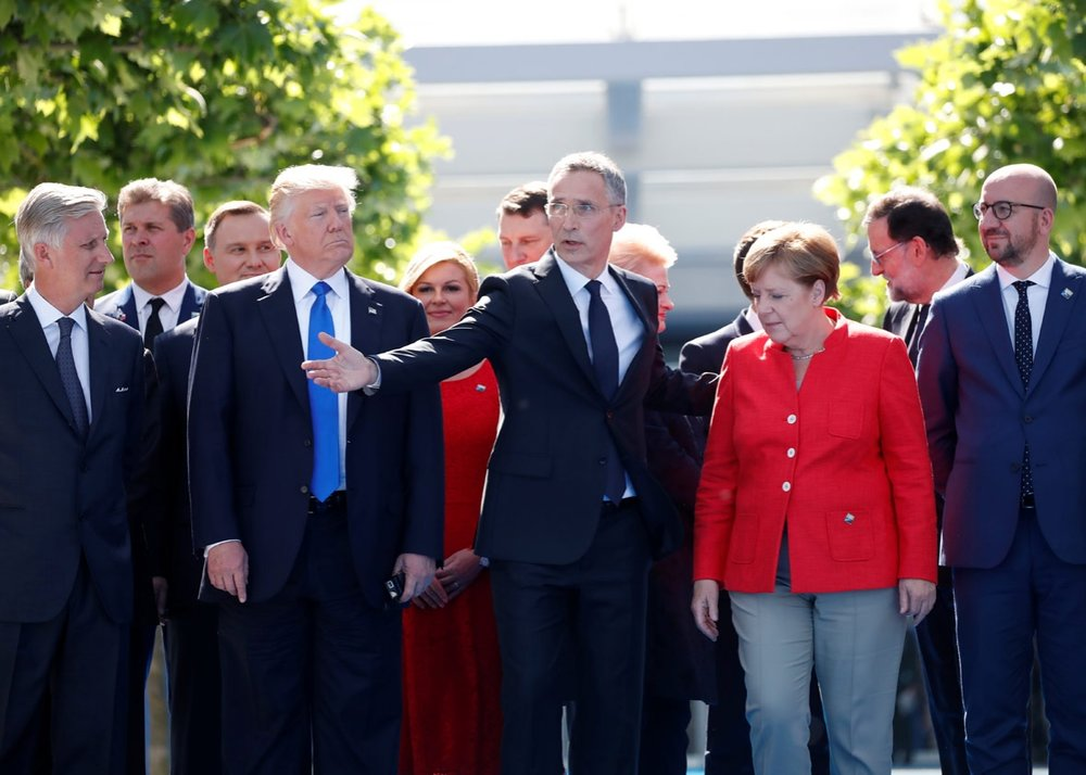 U.S. President Donald Trump with European leaders. (Christian Hartmann/Reuters)
